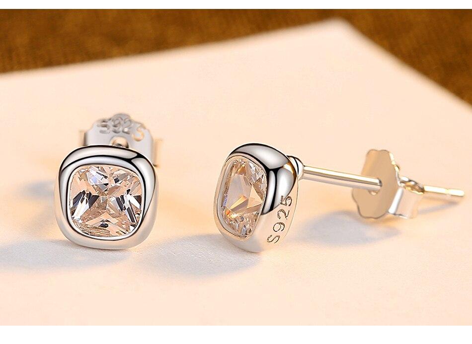新品详情页_06 - Gem &amp, Time Minimaliste, 925 En Argent Sterling, Cubique Zircon Boucles D'oreilles,