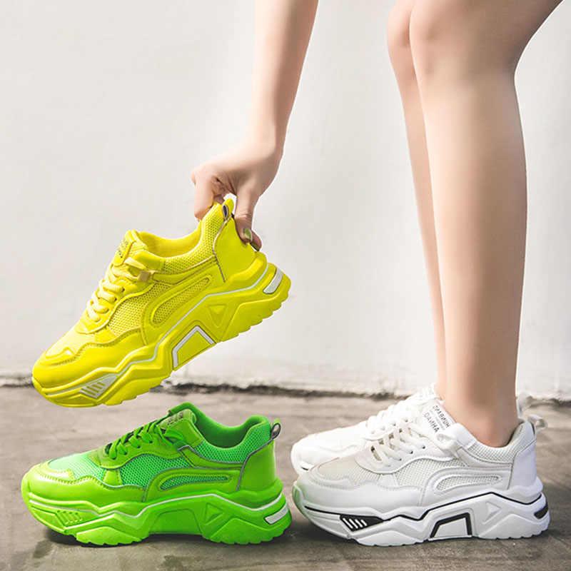 Sneakers ladies neon yellow shoes