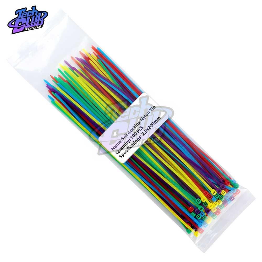 100 adet 100mm 150mm 200mm kendinden kilitleme naylon kablo bağları plastik tel Zip bağlama Wrap sapanlar 2.5*200 2.5*150 2.5*100 Mix 10 renk