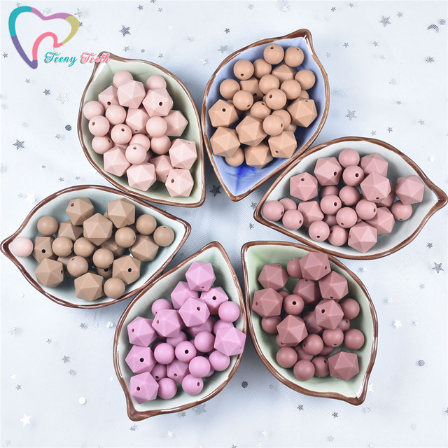 100 PCS 12-17MM Silicone Round Beads Teething 14 MM Icosahedrons Baby Chewable Pacifier Clips Beads BPA FREE Baby Teething Toy