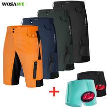 Wosawe Мужские велосипедные шорты водоотталкивающие свободные
