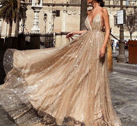 Champagne Prom Dress 2019 A line Spaghetti Straps Sequins Sparkle Backless Long Prom Gown Evening Dresses Robe De Soiree