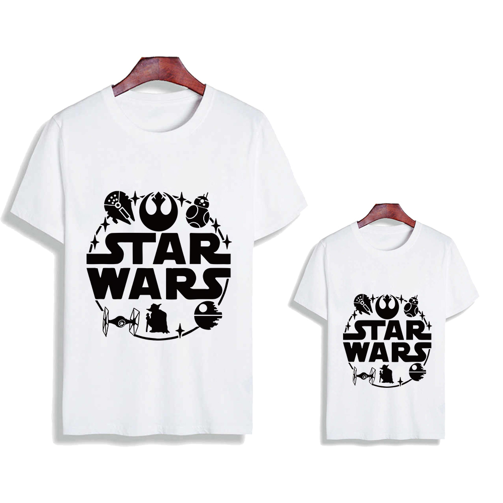 Daddy And Me Clothes T-shirts Mandalorian Vogue Kids Clothes Clothes STAR WAR T Shirt Family Look Outfits Graphic Spring Summer