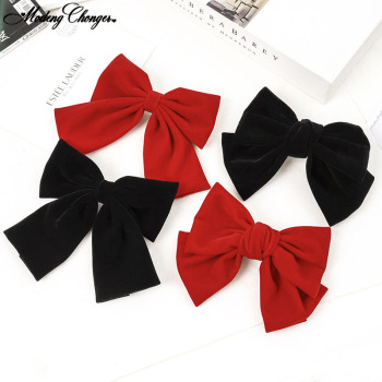 1PC Fashion Solid Color Big Large Barrette Bow Hairpins For Girls Woman Balck Hair Clip Sweet Velvet Hairgrips Hair Accessories big large barrette two levels chiffon hair bow love heart hair clip for women girls hairgrips sweet new fashion hair accessories