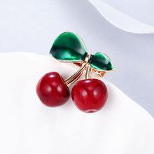 Maikale Charm Rood Groen Emaille Cherry Broche Pins Bloem Broches Voor Vrouwen Meisjes Kraag Pak Shawl Shirt Party Accessoires Cadeau(China)
