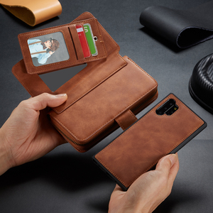 Image 4 - Funda de cuero con cremallera para Samsung Galaxy Note 10 Plus S10 S9 S8 Plus S10e Note 9 8 funda de bolso desmontable magnética