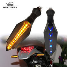 WINTUWAY Motorcycle LED Dual-color Signal Lamp Flowing Water Flicker Turn Indicators lights Accessories