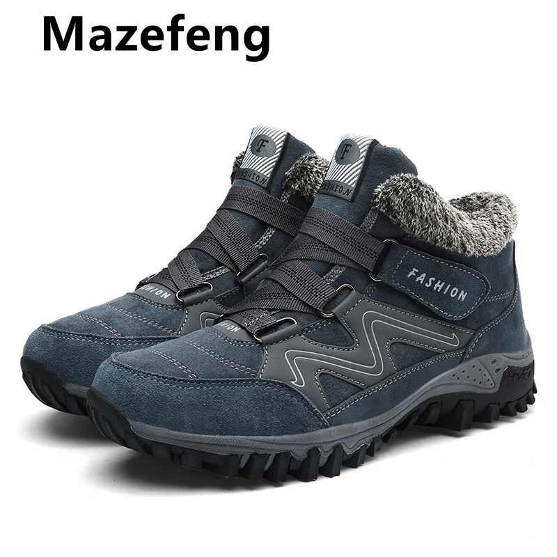 Mazefeng Leather Men Boots With Fur 2019 Keep Warm Snow Boots Men Winter Work Casual Shoes Sneakers High Top Rubber Ankle Boots