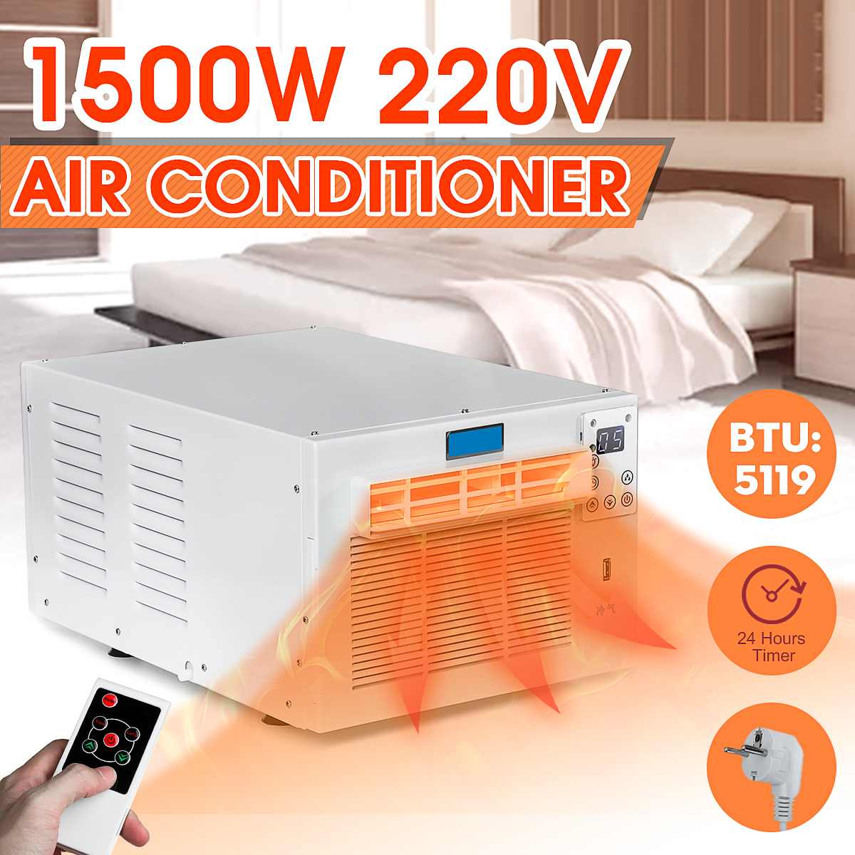 1500W Desktop Air Conditioner 24-hour Timer Cold/Heat Dual Use 220V/AC With Remote Control LED Control Panel Pet Air Conditione