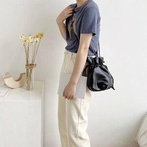 Image 3 - 2020 New Women Bag PU Leather Youth Drawstring Bucket Bag Japan Lucky Bag Ladies Handbag Small Crossbody Shoulder Bag Whole Sale