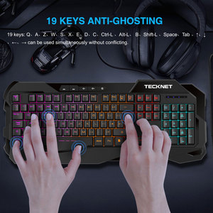 Image 2 - Teclado para videojuegos TeckNet, sensación mecánica, teclados para videojuegos antighosting, Teclado retroiluminado luminoso con diseño en inglés para jugadores