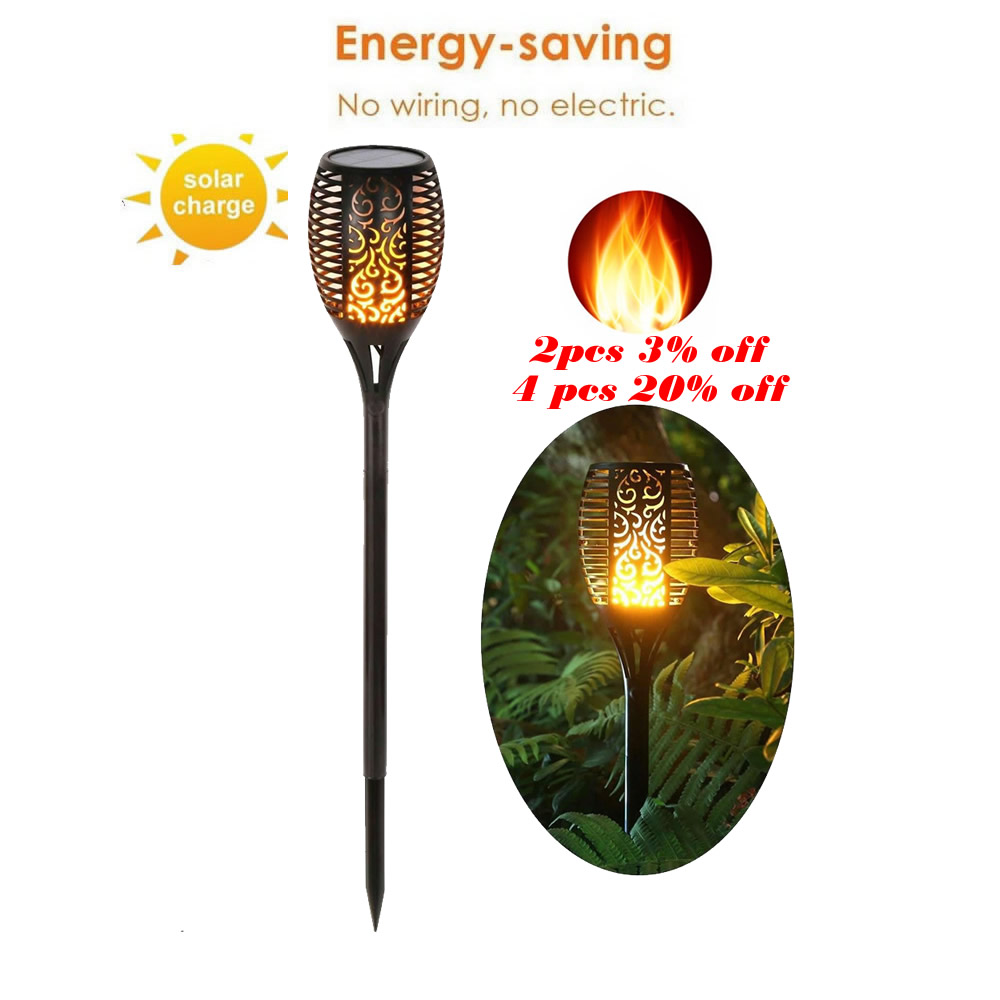 Solar Waterproof Flickering Flame Torch Light Outdoor Landscape Decoration Ing Lamp Flame Lamp Flickering Bulb Dancing Lawn Lamp