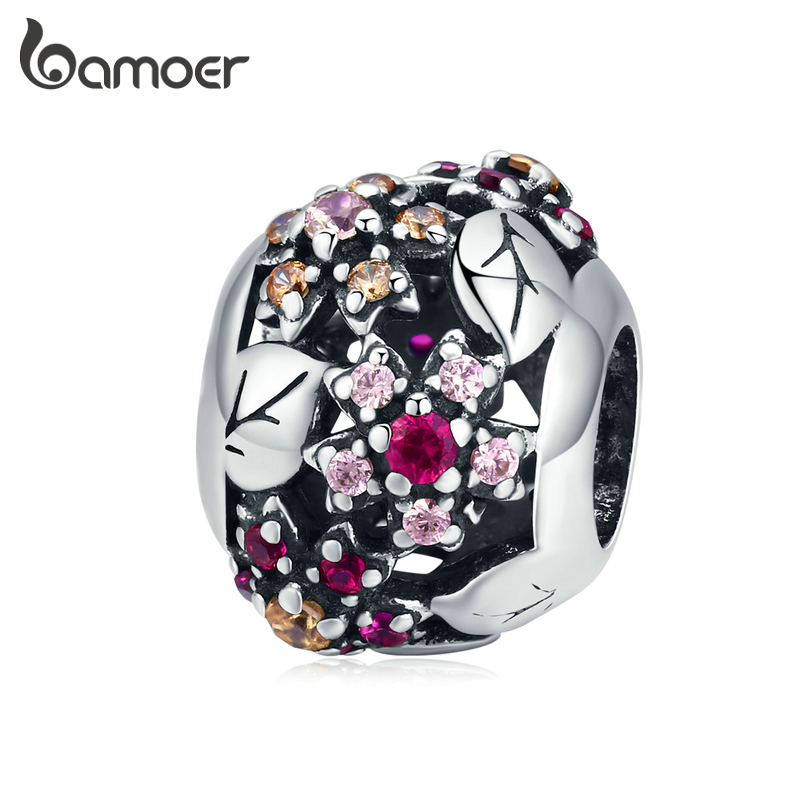 Bamoer Silver 925 Jewelry Cherry Blossom Flower Round Metal Beads For Jewelry  Making Charm For Original Bracelet Bangle SCC1446