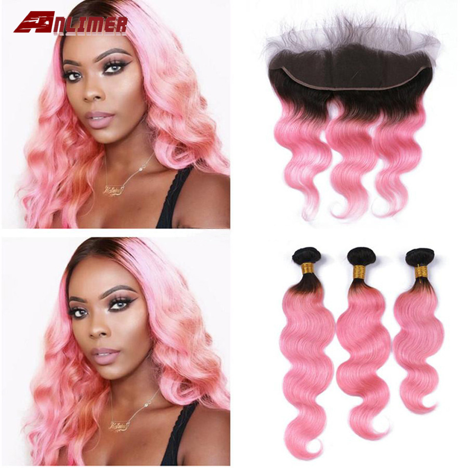 Ombre 1B/Pink Brazilian Body Wave Human Hair Bundles With 13x4 Lace Frontal Closure Ear To Ear Dark Roots