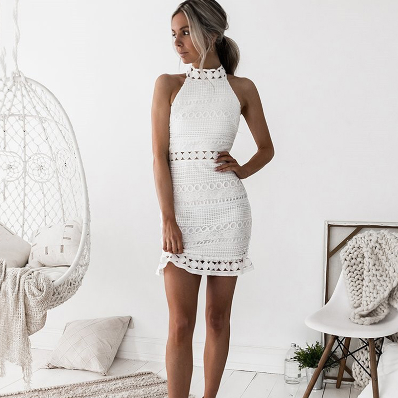 Lossky Sexy Lace Stitching Hollow Out Dress Elegant Women Sleeveless White Summer Chic Short Club Party Clothes Dresses 2020 5