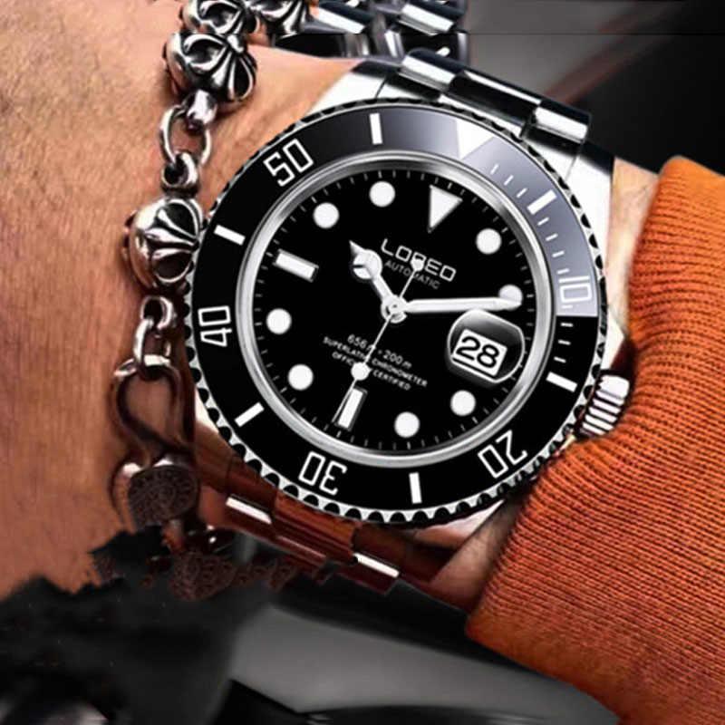 LOREO の軍事スポーツ腕時計メンズファッション腕時計メンズ腕時計自動機械式時計メンズ腕時計防水 200 メートル relojes