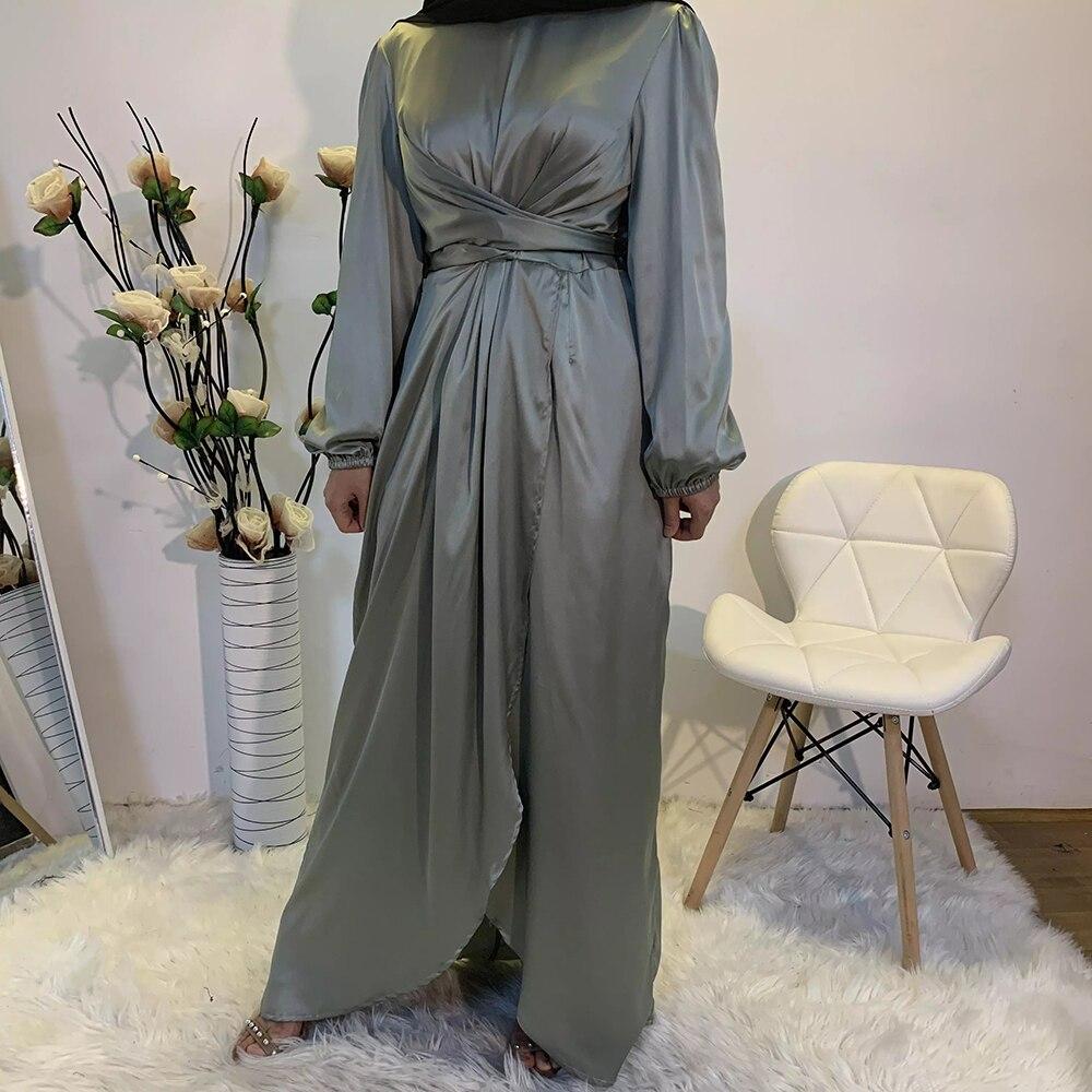 Eid Mubarek Abaya Dubai Turkey Satin Hijab Muslim Dress India European American Islam Clothing Dresses For Women Oman Vestidos(China)