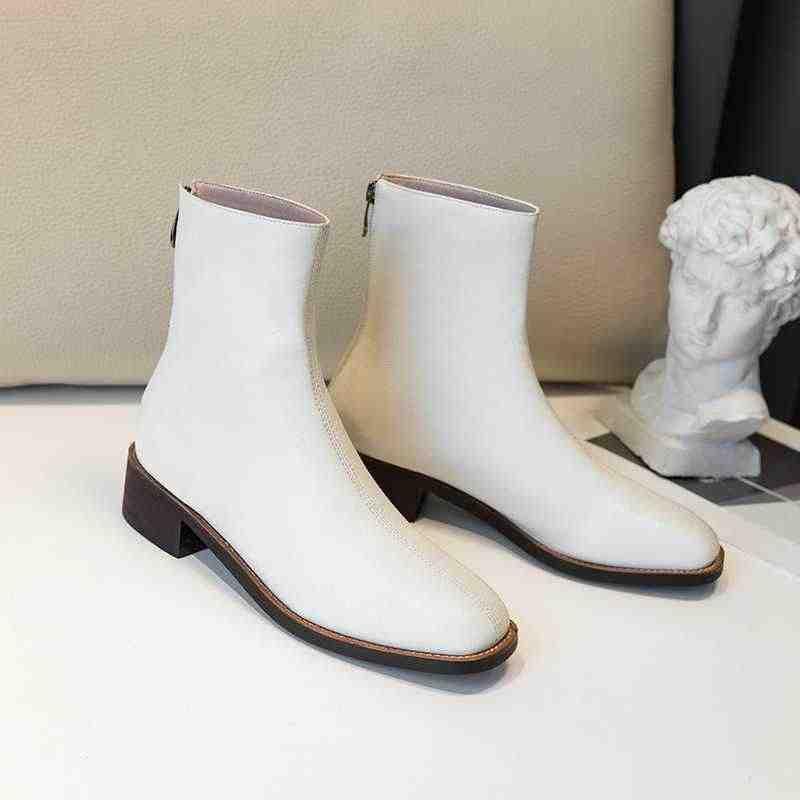 Krazing Pot avrupa tarzı hakiki deri eğlence moda kadın ayakkabı yuvarlak ayak med topuklar geri fermuar kış yarım çizmeler L16