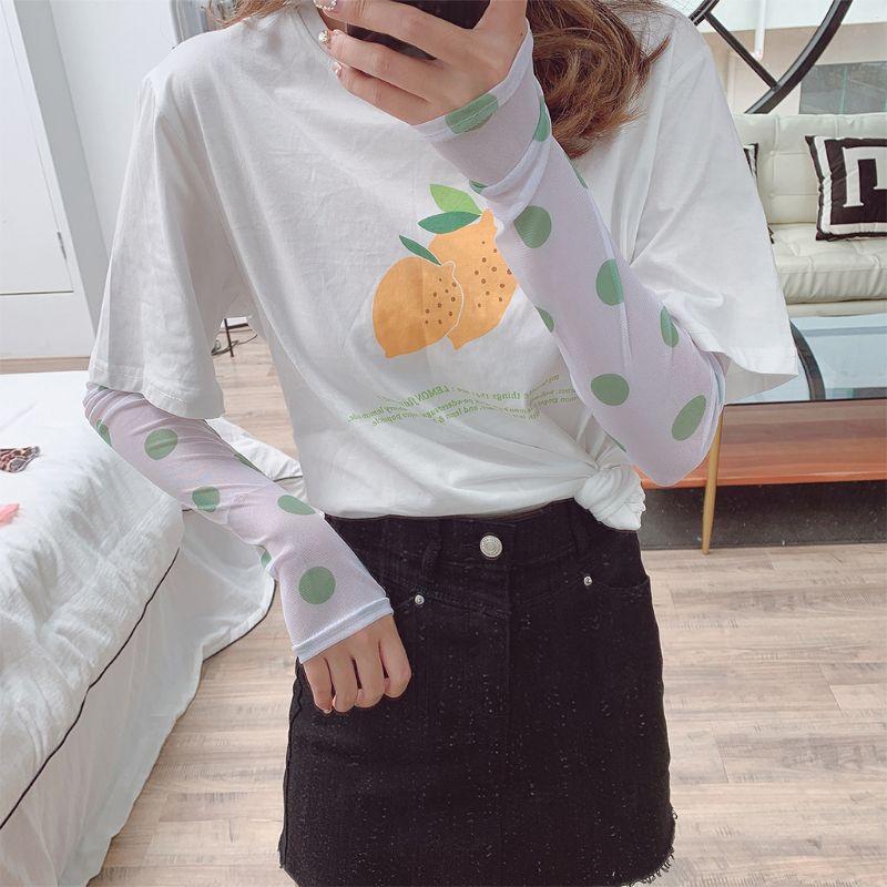 Korean Women Girl Summer Ice Silk Arm Sleeves Cover Retro Colored Polka Dot Print UV Protection Driving Cycling Sunscreen Gloves