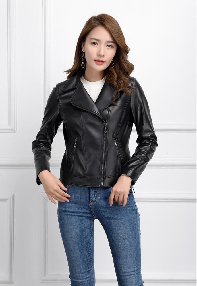 Genuine Leather Jacket Women Real Sheepskin Leather Coat Spring Autumn Short Slim Motocycle Bomber Jackets 1006 MF518