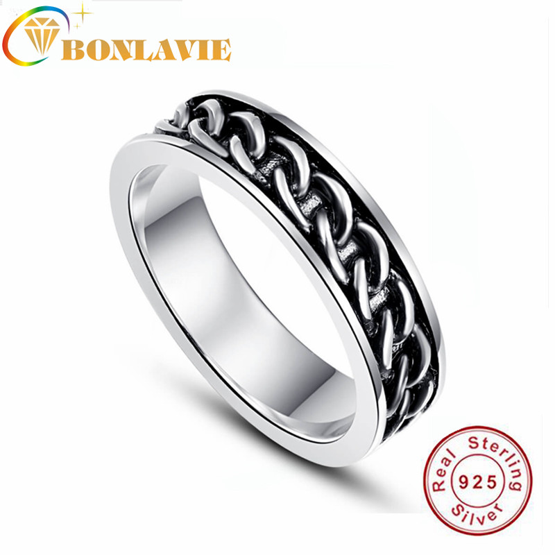 BONLAVIE Silver 925 Sterling Silver Mens Black & Silver Wedding Ring Curb Chain Band 6mm Rings 2019 Trendy Fine Jewelry