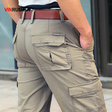 2020 męskie letnie kombinezony z wieloma kieszeniami spodnie męskie wiosna jesień w stylu Casual markowa armia zielona bawełna luźne spodnie Cargo długie spodnie