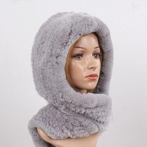 Image 4 - 2020 חדש רוסית נשים רקס ארנב פרווה סלעית צעיפי ליידי חורף חם 100% אמיתי רקס ארנב פרווה כובעי צעיף לסרוג אמיתי פרווה כובעים