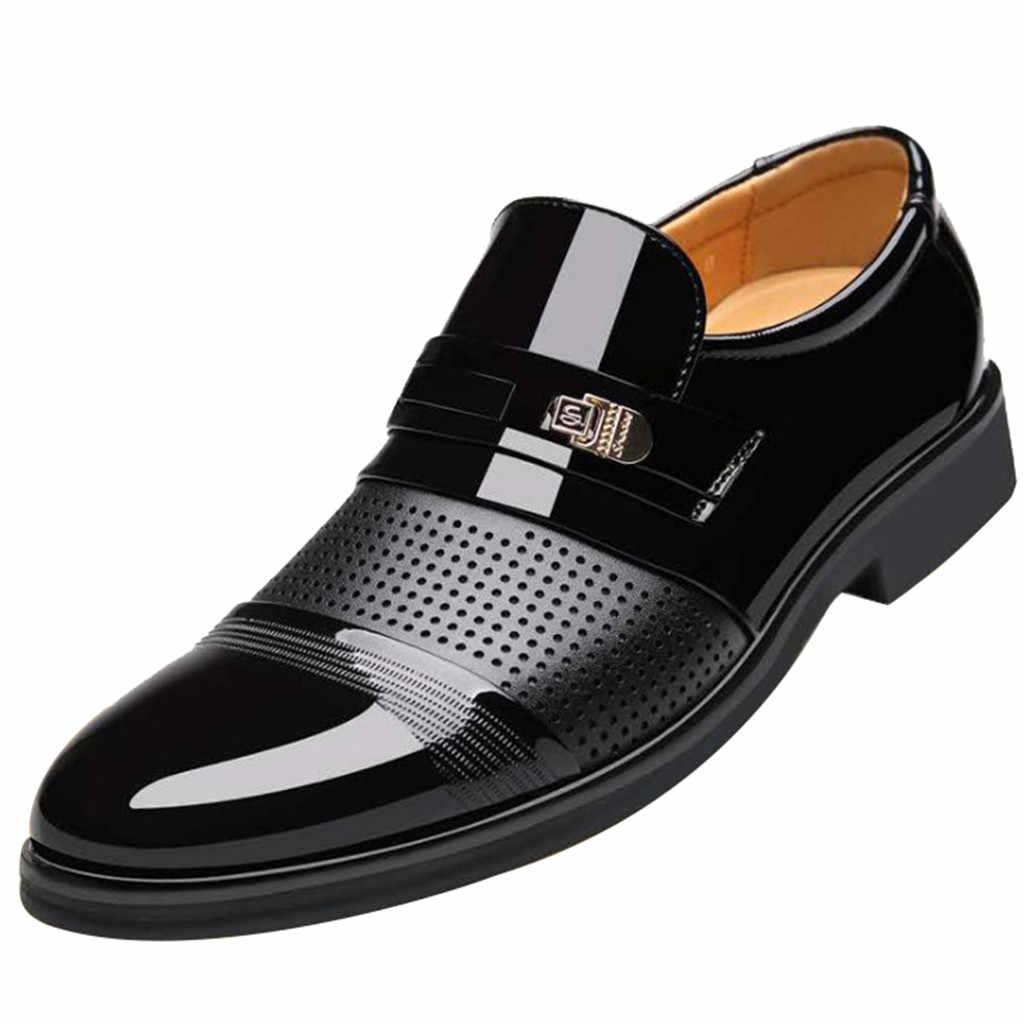 Lüks marka PU deri moda erkekler İş elbise loafer'lar sivri burun siyah ayakkabı Oxford nefes resmi düğün ayakkabı