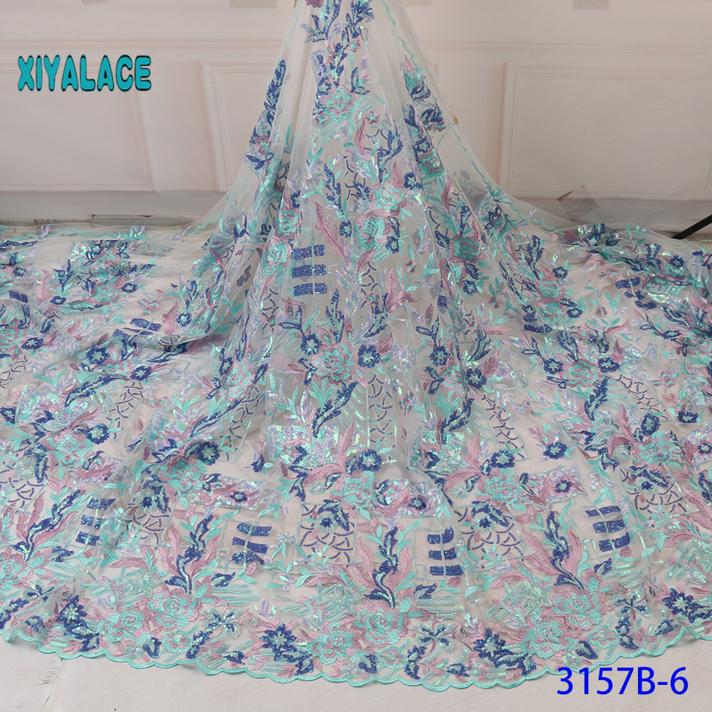 2019 New Design With Sequins African French Lace Fabric High Quality Nigerian Lace Fabric For Garment 5 Yards YA3157B-6