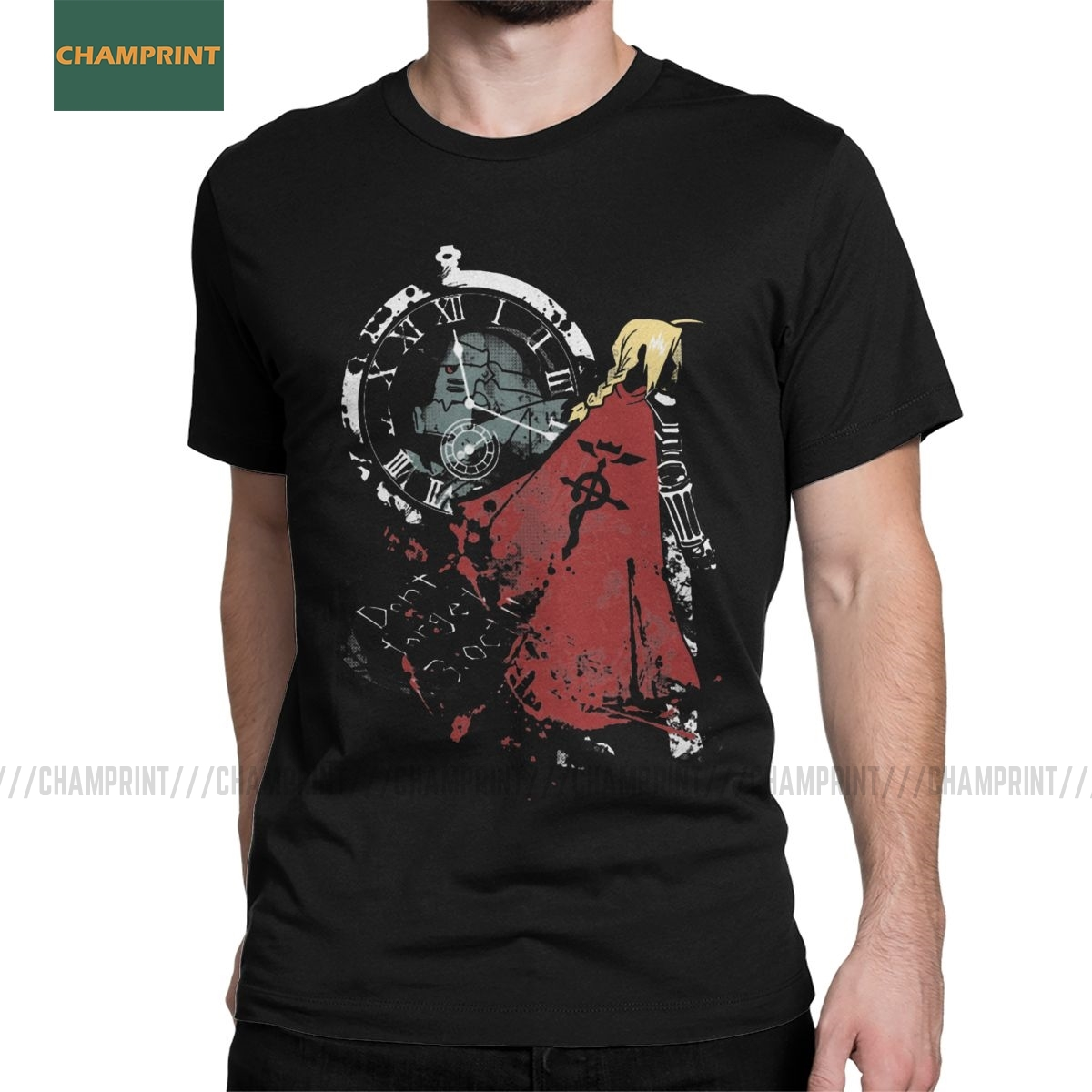 Fullmetal Alchemist T Shirt Men Cotton Vintage T-Shirt Elric Edward Brotherhood Anime Fma Manga Tees Short Sleeve Tops Plus Size