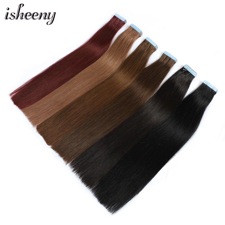 Isheeny, 24 дюйма, человеческие волосы Remy для наращивания на ленте, 20 шт., прямые европейские волосы для наращивания, пучок, уток кожи