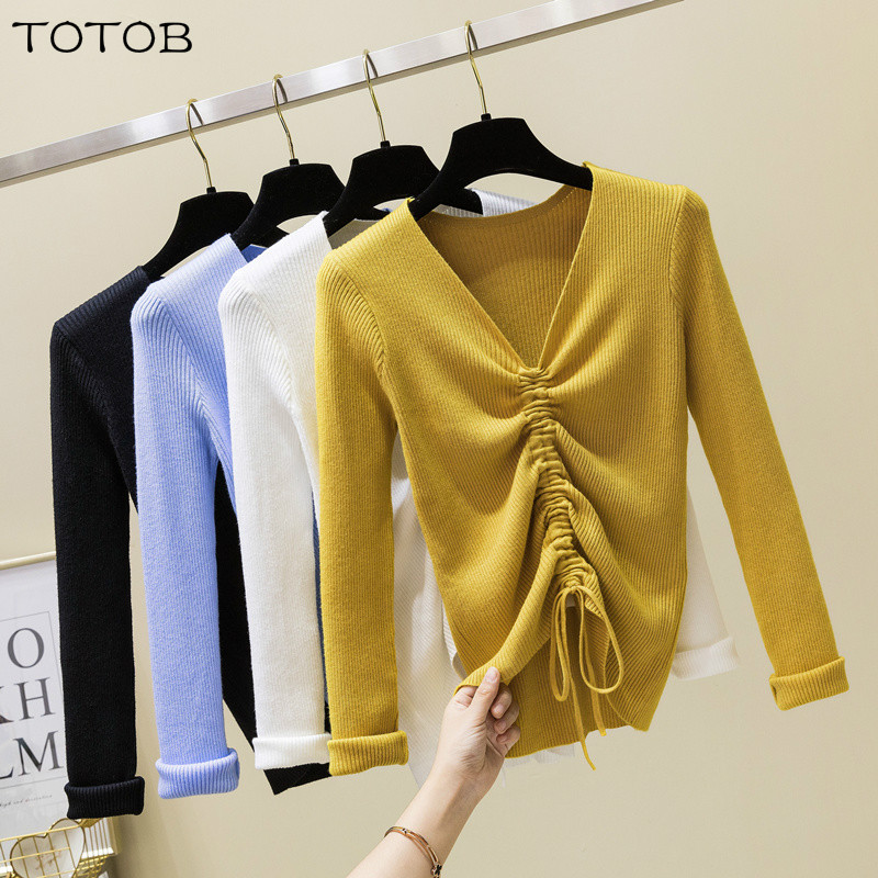 New 2019 Spring Drawstring V Neck Sweater Women Ruched Knitted Pullover Women Sweaters And Pullovers Knit Jumper Ladies Sweater