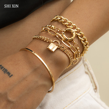 SHIXIN 5 Pcs Punk Chain Bracelets Bangles Set for Women Thick Gold/Silver Color Charm Lock Bracelets Fashion Hand Chains Jewelry