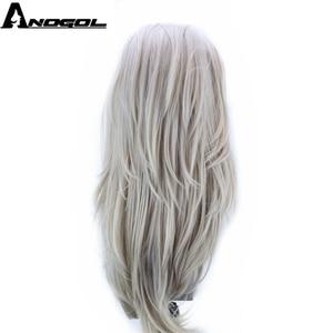 Image 3 - Anogol gümüş gri sentetik dantel ön peruk uzun doğal dalga peruk kadınlar için yüksek sıcaklık Fiber