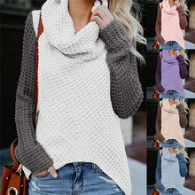 купить Women Off The Shoulder Sweater Casual Knit Patchwork Long Sleeve Pullover Top Pull femme онлайн