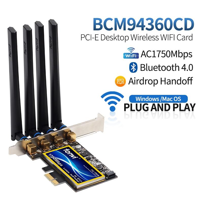 FV-T919 1750Mbps Dual Band 802.11AC Desktop Wifi Adapter BCM94360 Wireless Bluetooth 4.0 Mac OSX Hackintosh(China)