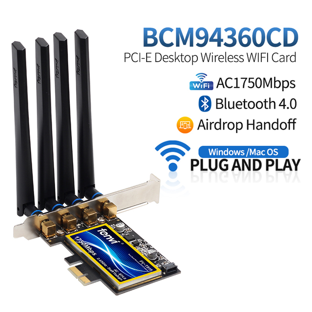 FV-T919 1750Mbps Dual Band 802.11AC Desktop Wifi Adapter BCM94360 Wireless Bluetooth 4.0 Mac OSX Hackintosh