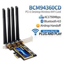 FV T919 1750Mbps Dual Band 802.11AC masaüstü Wifi adaptörü BCM94360 kablosuz Bluetooth 4.0 Mac OSX Hackintosh