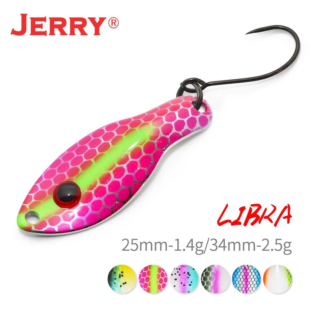 Jerry libra micro colher de pesca iscas 1.4g 2.5g alta qualidade revestimento uv iscas artificiais wobbler spinner para truta baixo