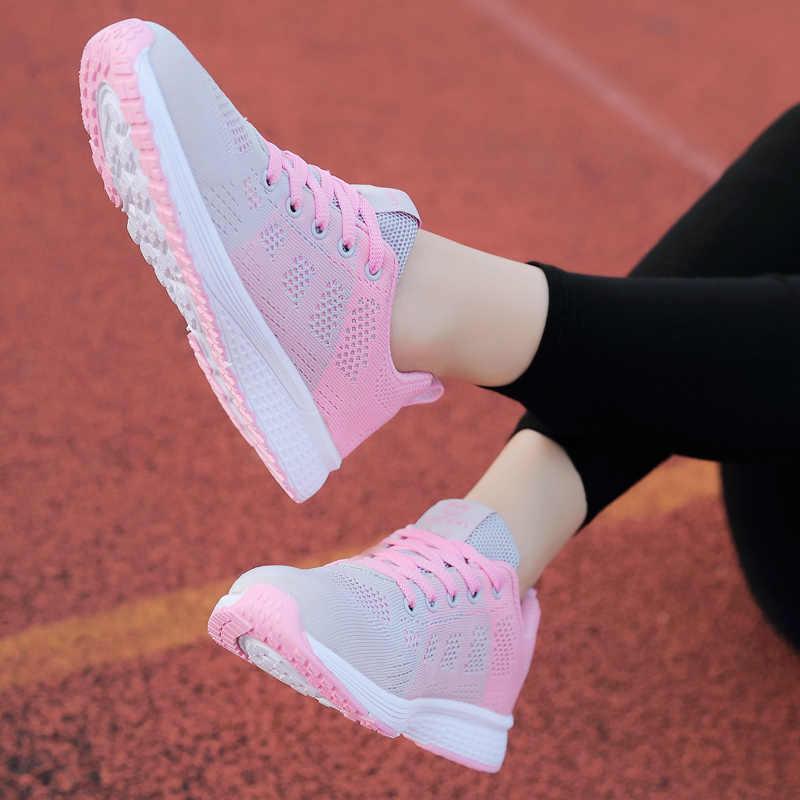 2019 Phụ Nữ Mới Giày Đế Bằng Thời Trang Cho Nữ Giày Nữ Cột Dây Lưới Sneakers Nữ Zapatillas Mujer