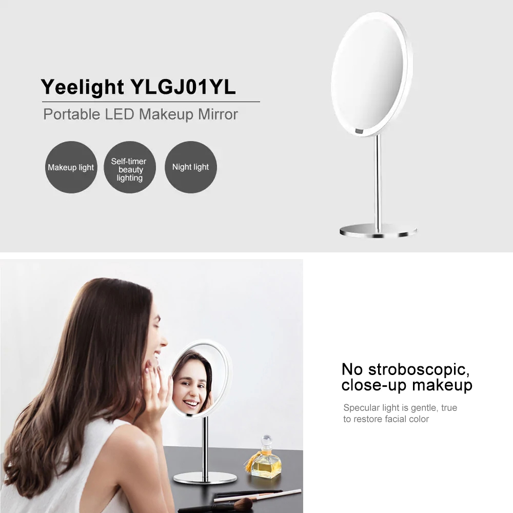 Image 5 - Yeelight LEDs Makeup Mirror Light Touching Control make up led vanity lights Night Light for Xiaomi Mirror With Light
