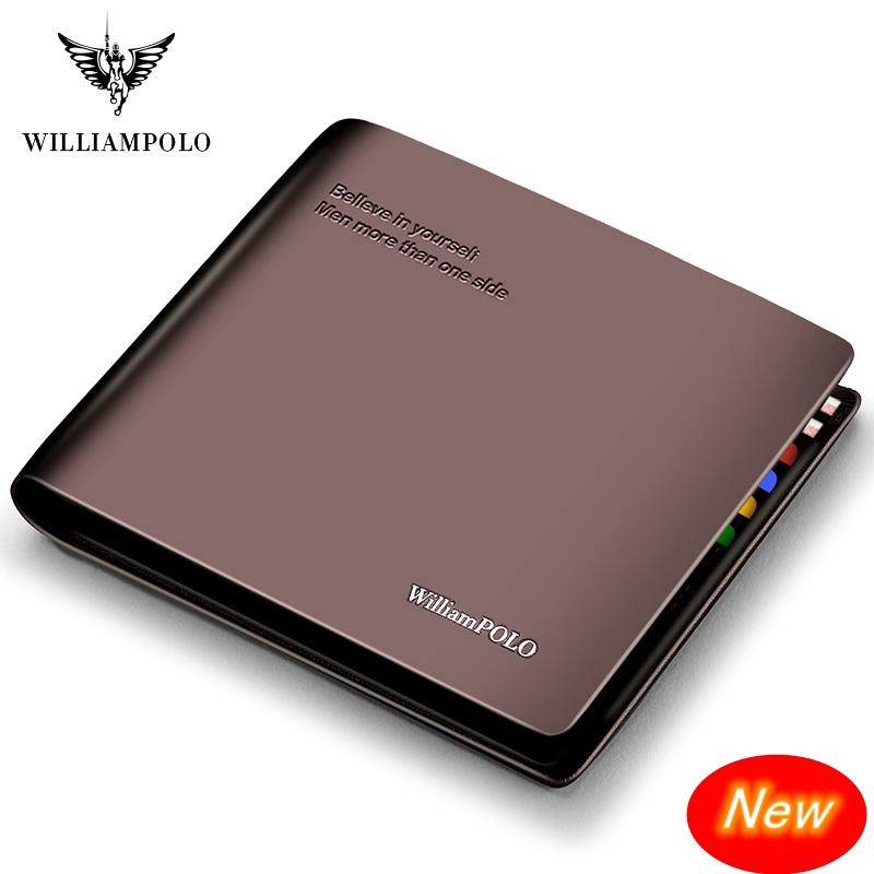 WilliamPolo Short Wallet Mens Slim Credit Card Holder Bifold Genuine Leather Multi Card Case Slots Cowhide Leather Wallet