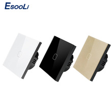Esooli EU/UK standard Wall Switch Crystal Glass Panel Touch Switch,1 Gang 1 Way Light Wall Touch Screen,Olny Touch Function
