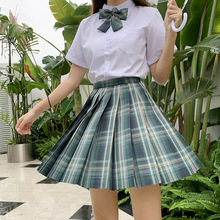 Japanese School Uniforms Plaid Skirts Girl's Dresses JK Suits Green Bowknot Shirt Female Sailor Costume Dress Clothes for Women