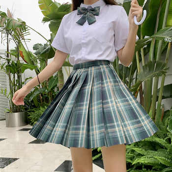 Japanese School Uniforms Plaid Skirts Girl\'s Dresses JK Suits Green Bowknot Shirt Female Sailor Costume Dress Clothes for Women - DISCOUNT ITEM  30 OFF Novelty & Special Use