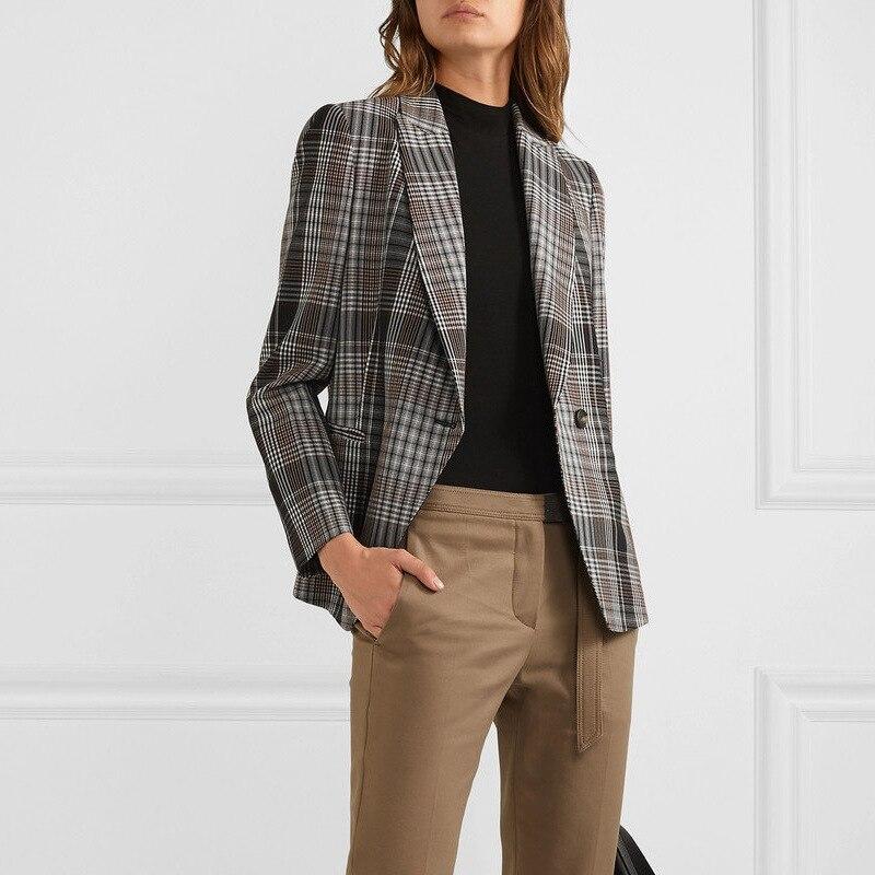 2020 otoño nuevo Retro A Buckle estilo Hong Kong suelto Plaid traje de manga larga abrigo botón Plaid ropa mujer Chaquetas abrigo Mujer - 4