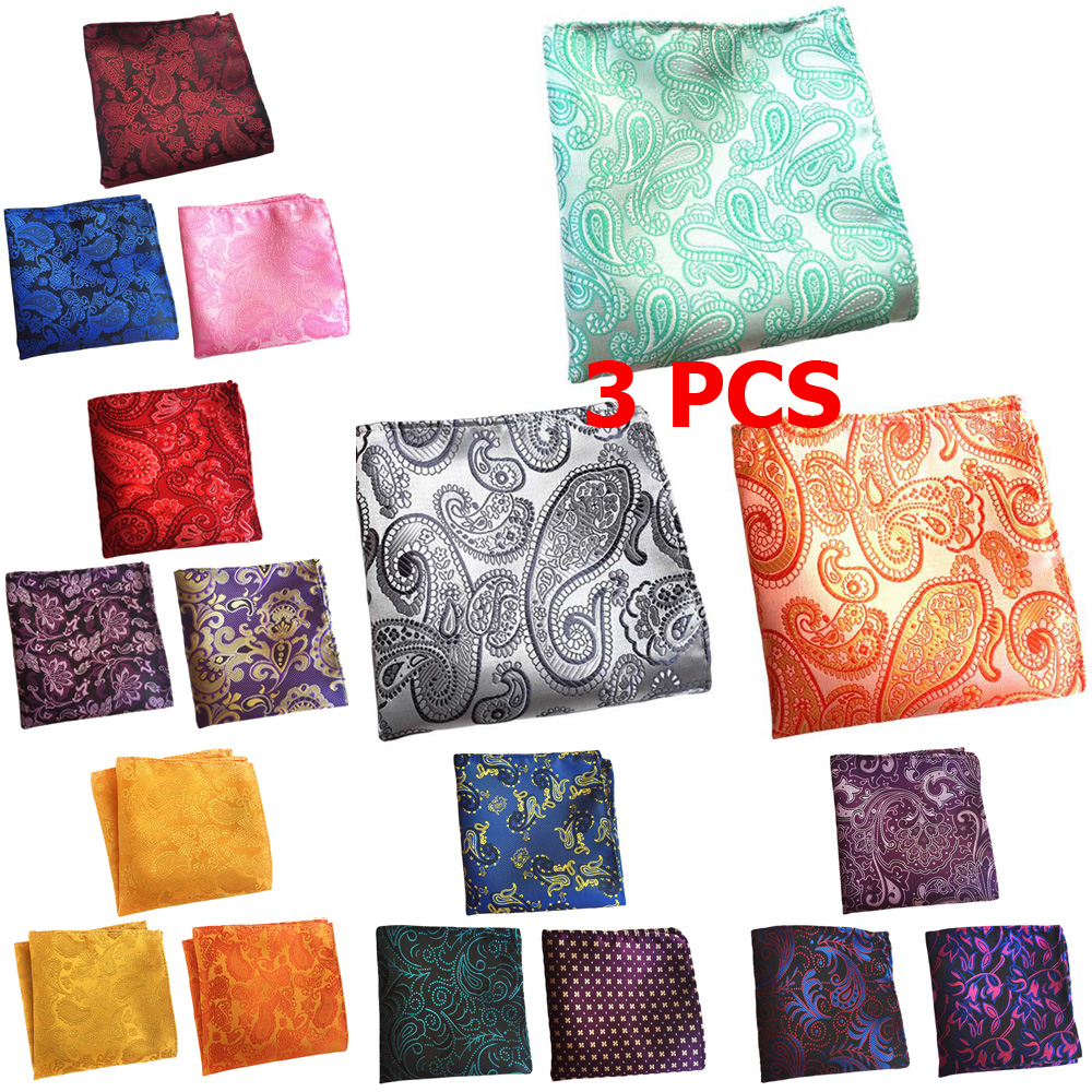 3 PCS Mens Flower Paisley Colorful Pocket Square Handkerchief Wedding Hanky