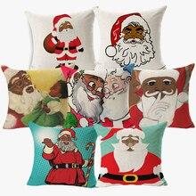 В африканском стиле американского Санта Подушка с Санта Клаусом для веселого Рождества праздника Декоративная Наволочка на подушку для декоративное белье для дивана Подушка Чехол