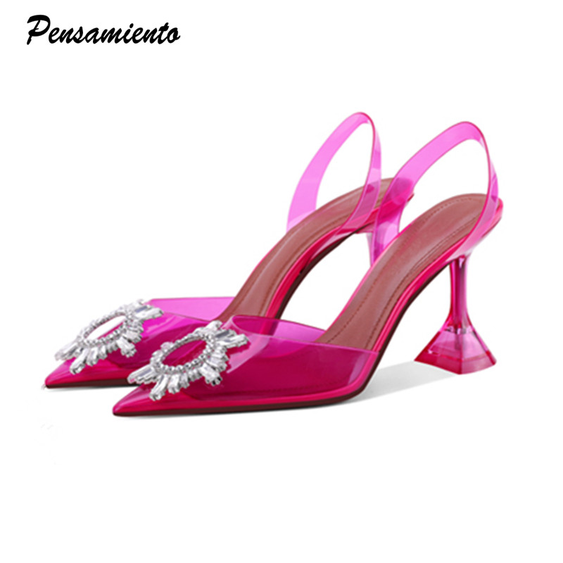 Candy colors Women Pumps Elegant Pointed toe Slingback Summer Office Lady Shoes Fashion Crystal High heel Wedding Dress shoes