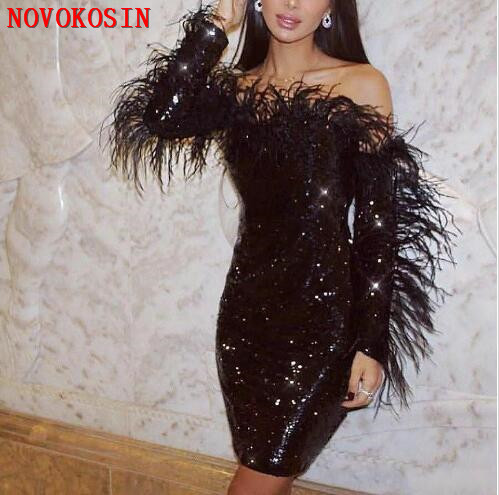 2020 Black Sheath Cocktail Party Dresses Long Sleeves Off Shoulder Feathers Lace Sequined Short Prom Evening Gowns
